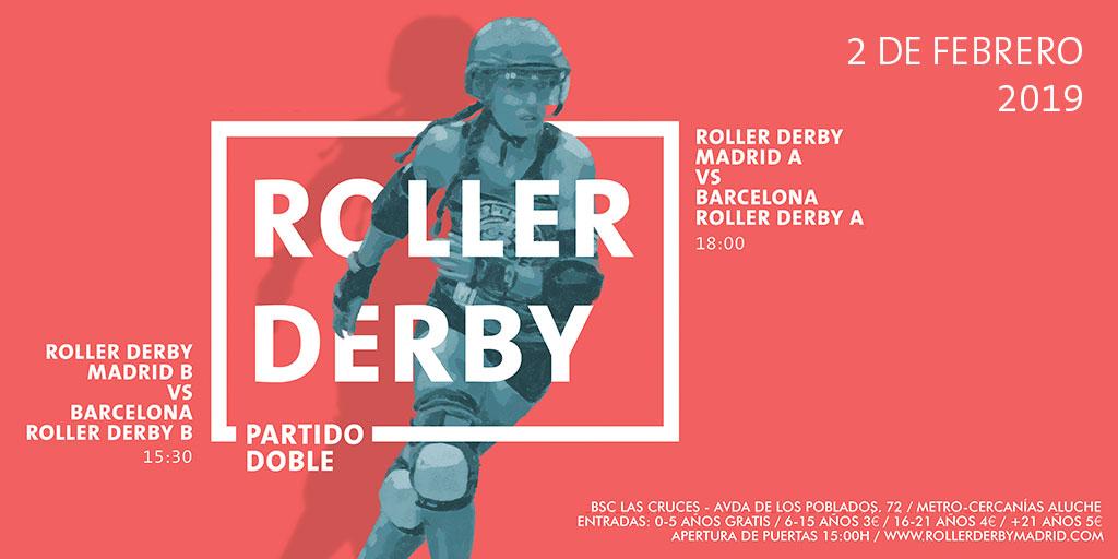Partido doble de roller derby – RDM vs Barcelona Roller Derby